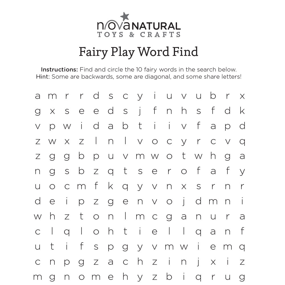 Fairy Play Word Find