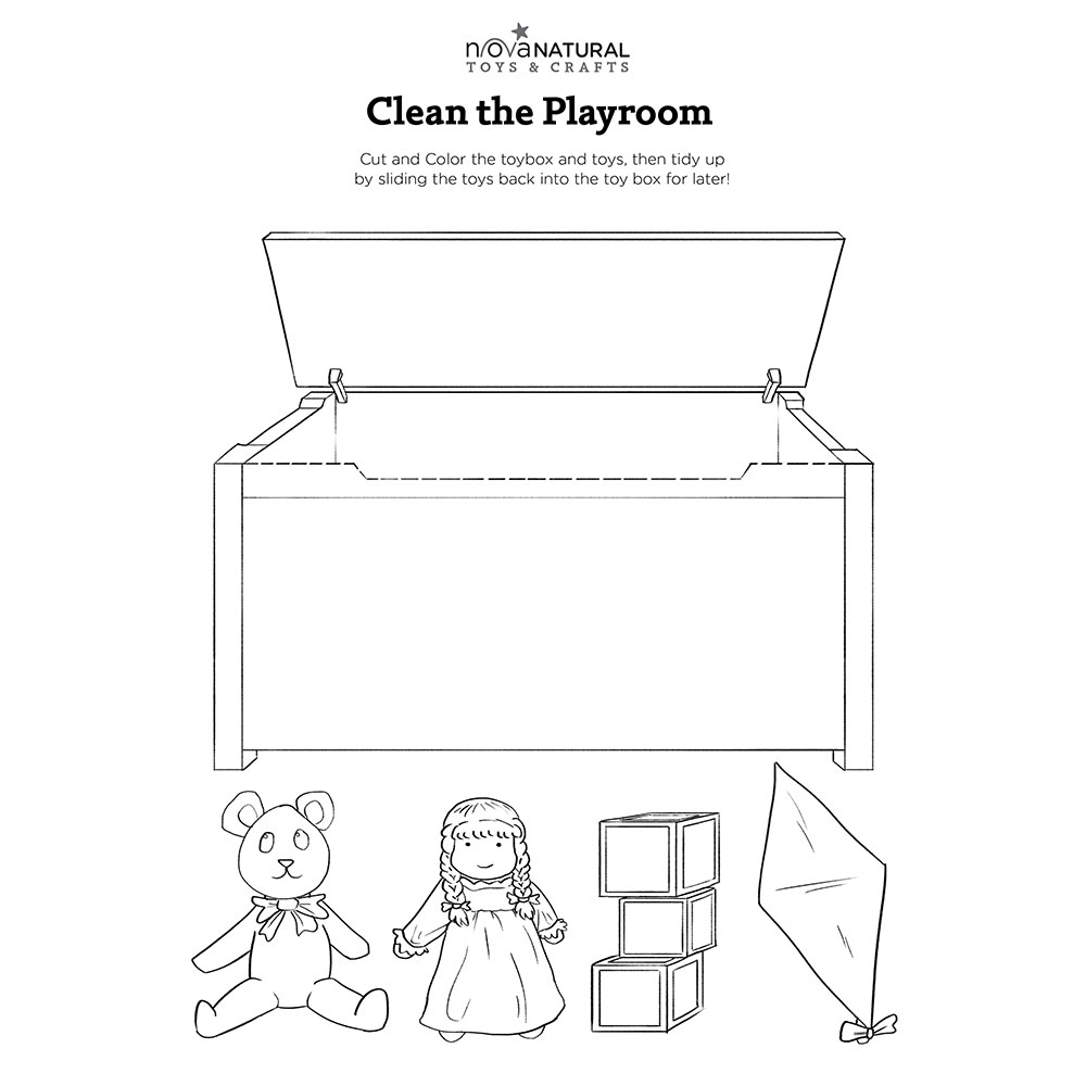 Clean the Playroom Coloring Sheet